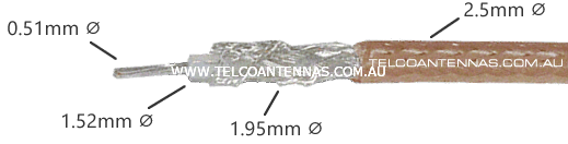 rg316 coaxial cable cutaway specifications