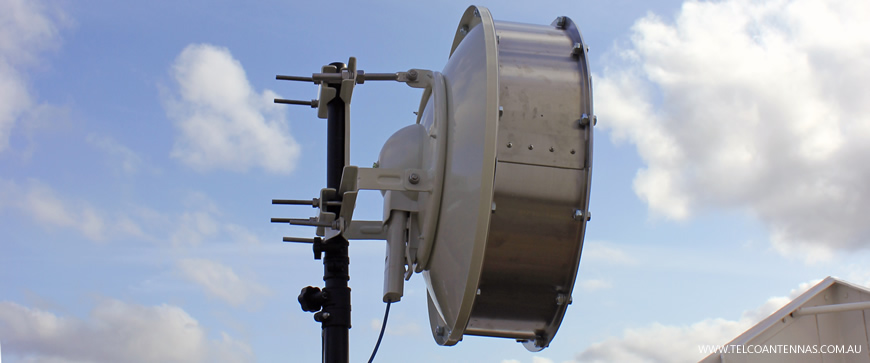 rooftop mounted rocket dish 30 M5 backhaul link