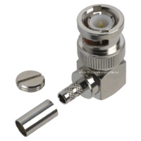 BNC Male Right Angle Crimp Connector - RG58/LMR195/Belden 9907