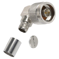N Male Right Angle Crimp Connector - LMR400/RG8