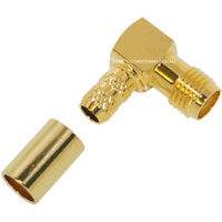 RP-SMA Female Right Angle Crimp Connector - RG58/LMR195/Belden 9907