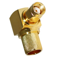 RP-SMA Male Right Angle Crimp Connector - LMR400/RG8