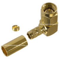 SMA Male Right Angle Crimp Connector - RG58/LMR195/Belden 9907