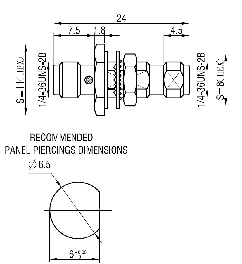 sma bulkhead drawing CAD specification