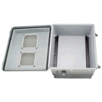 Weatherproof Enclosure with Vent & DIN Rails - 350x300x175mm