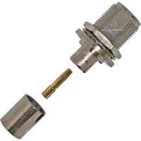 N Female Bulkhead Crimp Connector - LMR400/RG8
