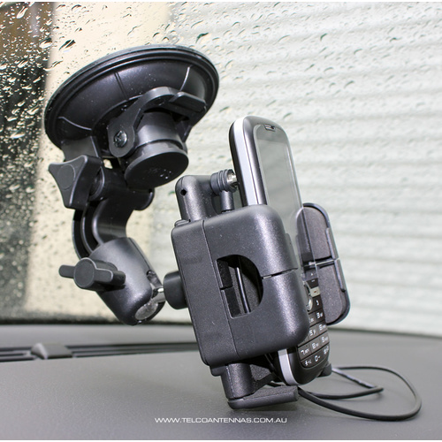 Generic Suction Mount Phone Cradle -  Holds Phone with Patch Lead